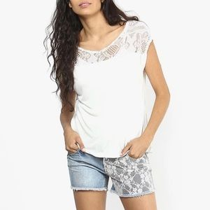 Vero Moda Lace Detailing White Sleeveless Top